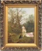 Wastkowski Franciszek (1843-1900), 48 x 35,5 cm, olej, płótno, Akt z pieskiem na tle pejzażu, 1887r.