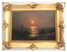 *w kolekcjach____Wiktor Korecki - Zachód słońca nad morzem 35x50cm