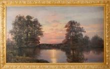 Wiktor Korecki - 100x170cm Młyn o zachodzie słońca