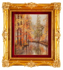 zz_______SPRZEDANE_____Jesienią nad rzeką w 1946 roku, 72x60cm