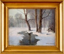 *w kolekcjach_____Strumień w lesie zimą 36x45cm
