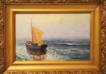 w kolekcjach________Korecki - Żaglówka na morzu 32,5x49,5
