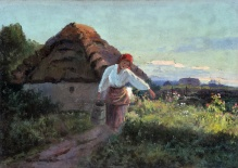 Wiktor Korecki (1897-1980) - 35x50cm, olej, płótno,  Dziewczyna z konwią