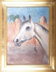 ARCHIWALNE___Jerzy Kossak - Głowa konia na tle orientalnej architektury