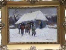 SPRZEDANE  Kossak Jerzy - Kirasjerzy przed chatą