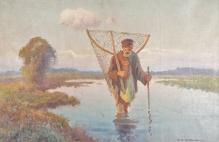 Korecki Wiktor (1897-1980) Rybak z siecią