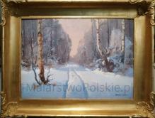 Korecki Wiktor (1897-1980) 50x70cm Droga przez las zimą - praca przedwojenna