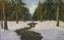 Wiktor Korecki- Pejzaż zimowy 66x104,5cm