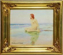 __Sprzedane__Wygrzywalski Feliks Michał (1875-1944) - 45x50,5 cm, olej, płótno, Akt nad brzegiem morza