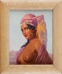 Szewczenko Konstanty (1910-1991) - 50x40cm, olej, płótno, Arabska dziewczyna - półakt