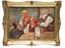 Wodzinowski Wincenty (1860-1940), 50x70 cm, olej, tektura malarska, Rodzinny odpoczynek nad wodą
