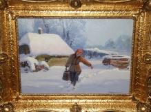 Korecki Wiktor (1897-1980), 35x50cm, olej, tektura, Dziewczyna z wiadrem
