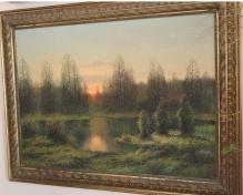 Korecki Wiktor (1897-1980) - 100x80cm Zachód słońca nad wodą