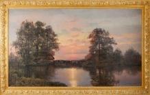 Korecki Wiktor (1897-1980) - 100x170cm  Młyn o zachodzie słońca