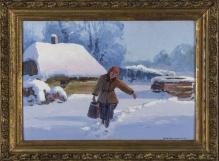 Sprzedane____Korecki Wiktor (1897-1980), 35x50cm, olej, tektura, Dziewczyna z wiadrem