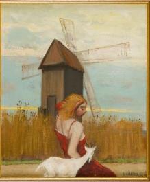 Lewandowski Janusz (ur.1938) Portret dziewczyny z koziołekiem