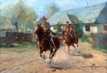 Wintorowski Leonard (1868-1927) Ułani przed dworem