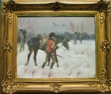 ARCHIWALNE__Kossak Jerzy (1886-1955)   Huzar z koniem w zimowym pejzażu
