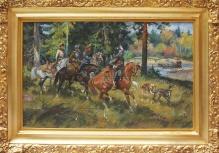 ___ARCHIWALNE____Leszek Piasecki (1928 - 1990 ) Kmicic podchodzi Szwedów