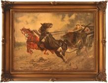 Stanisław Batowski  (1866-1946)  Konie poniosły