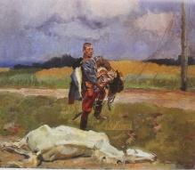 Kossak Wojciech (1856-1942) Pożegnanie z koniem - autoportret
