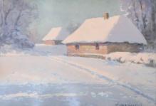 Korecki Wiktor (1897-1980)  Wiejskie chatki zimą