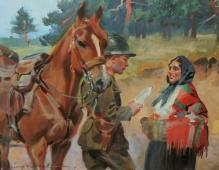 _Kossak Jerzy (1886-1955)  Żołnierz i dziewczyna 1926r.