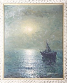Korecki Wiktor (1897-1980)  Łódka na morzu  50x60cm
