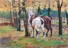 Wasilewski Czesław (ok.1875-1946/7)  Para koni w lesie