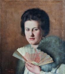 Diblik Xavier Frantisek (1887-1955) Portret żony z wachlarzem