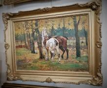 Wasilewski Czesław 50x70cm Para koni w jesiennym lesie