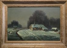 Wiktor Korecki (1897-1980) Chaty na skraju wsi  40x60cm