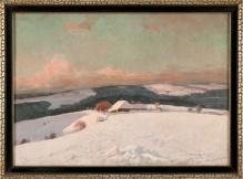 Korecki Wiktor (1897-1980) Zima na Morawach 1945r. 60x80cm