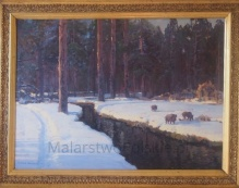 *___w kolekcjach___Korecki Wiktor (1897-1980) Dziki nad strumieniem w lesie zimą 50x70cm