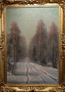 Korecki Wiktor (1897-1980) 87,5 x 57,5cm  Droga przez las zimą