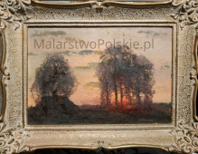 Korecki Wiktor (1897-1980)  22x33cm Zachód słońca za drzewami