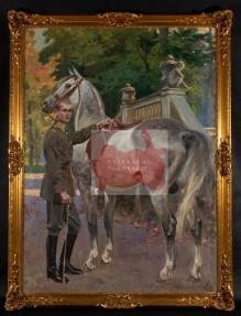 ___sprzedane___Kossak Wojciech (1856-1942) Ułan z koniem w Łazienkach Królewskich