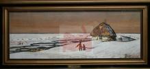 __SPRZEDANE___Fałat Julian - Chata rybacka nad rzeką w zimowym pejzażu 44x94