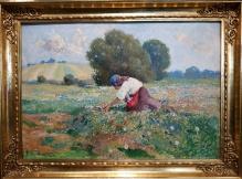 _____sprzedane______CIECZKIEWICZ Edmund (1872-1958) Dziewczyna na łące  50x70cm