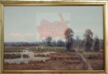 Korecki Wiktor (1897-1980) 50x80cm  Bociany nad rozlewiskiem