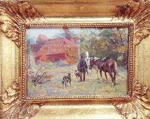 Zygmuntowicz - Myśliwy z chartami 28 x 40 cm