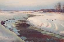 __ARCHIWALNE__ORELSKI ( Dmitro POTOROKA) Zimą nad rzeką 70x100cm