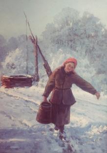 Dziewczyna z wiadrem  50x35 cm