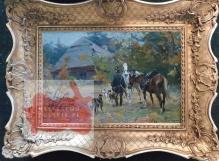 Wasilewski/Zygmuntowicz (ok.1875-1946/7) Myśliwy z chartami przed chatą