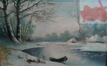 Korecki Wiktor (1897-1980) Łódka nad brzegiem rzeki zimą