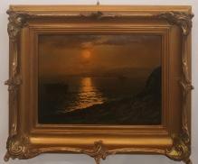 Archiwalne_____Korecki Wiktor  -  Łodzie przy brzegu w zachodzącym słońcu