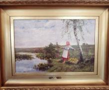 Korecki Wiktor ( 1897-1980) Dziewczyna z koszem kaczeńców 50x70cm