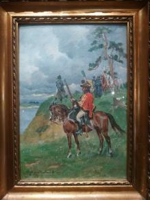 ARCHIWALNE______Napoleon nad rzeką w otoczeniu straży przybocznej 50x35cm