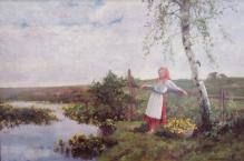 W kolekcjach____Korecki Wiktor ( 1897-1980) Dziewczyna z koszem kaczeńców 50x70cm