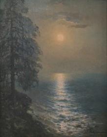 Korecki Wiktor (1897-1980) Sosna nad Bałtykiem  przed  zachodem słońca